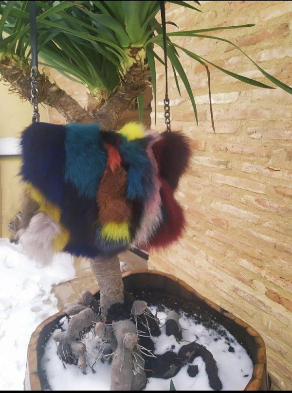 Bolso De Piel Y Pelo De Zorro Multicolor