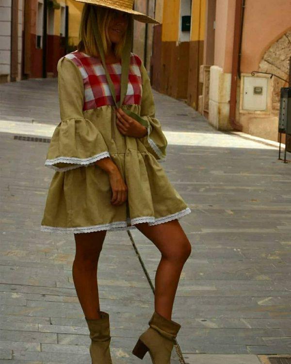 Vestido Corto Con Cuadros Vichy
